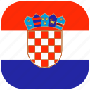 country, croatia, flag, national, rounded, square icon