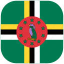 country, dominica, flag, national, rounded, square icon
