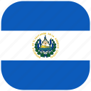 country, el, flag, national, rounded, salvador, square icon