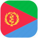 country, eritrea, flag, national, rounded, square