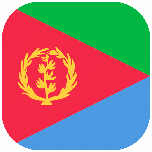 country, eritrea, flag, national, rounded, square icon