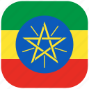 country, ethiopia, flag, national, rounded, square icon