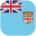 country, fiji, flag, national, rounded, square icon