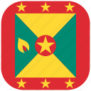 country, flag, grenada, national, rounded, square