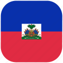 country, flag, haiti, national, rounded, square