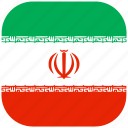 country, flag, iran, national, rounded, square