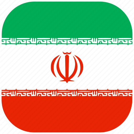 country, flag, iran, national, rounded, square icon