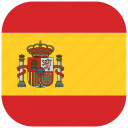 country, flag, national, rounded, spain, square icon