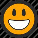 big smile, emoji, expressions, happy, roundettes, smiley icon