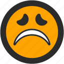 emoji, expressions, freightened, roundettes, sad, smiley icon