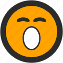 dreams, emoji, expressions, roundettes, sleepy, smiley, yawning icon