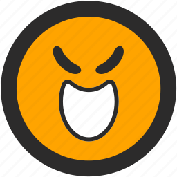 bad, devious, emoji, evil, expressions, roundettes, smiley icon