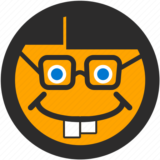 emoji, expressions, geek, glasses, happy, nerd, smiley icon