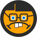 emoji, expressions, geek, nerd, roundettes, sad, smiley icon
