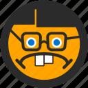 emoji, expressions, geek, nerd, roundettes, sad, smiley icon