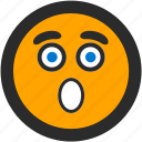 emoji, expressions, roundettes, shocked, smiley, surprised icon
