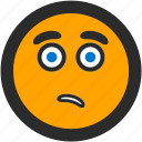 emoji, expressions, roundettes, sad, smiley, worried icon