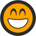 emoji, expressions, joy, roundettes, smiley, smilng, super happy icon