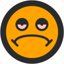 emoji, expressions, mellow, roundettes, sad, smiley, stone icon