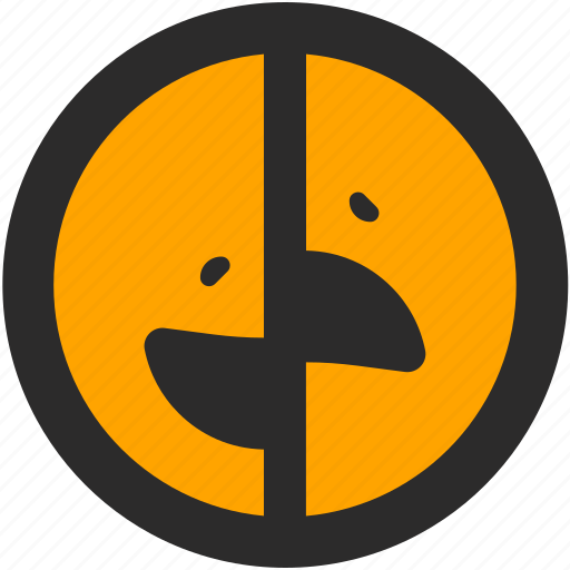 emoji, expressions, happy, roundettes, sad, smiley, two faces icon