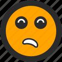 emoji, expressions, roundettes, smiley, suspicious icon