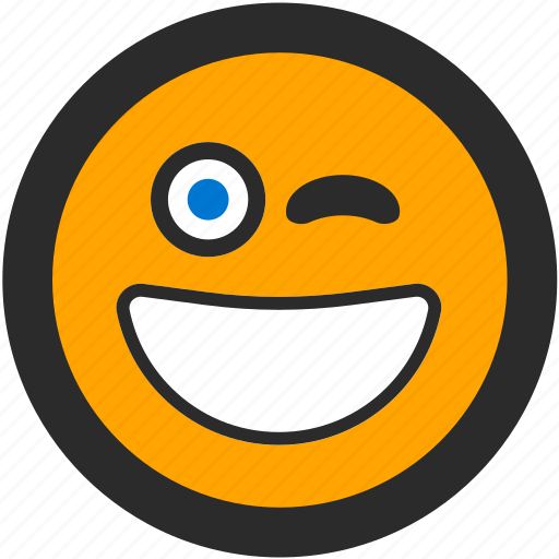 emoji, expressions, happy, roundettes, smiley, wink, winking icon