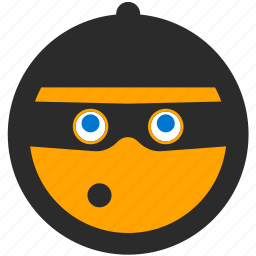 burglar, emoji, expressions, roundettes, smiley, steal, thief icon