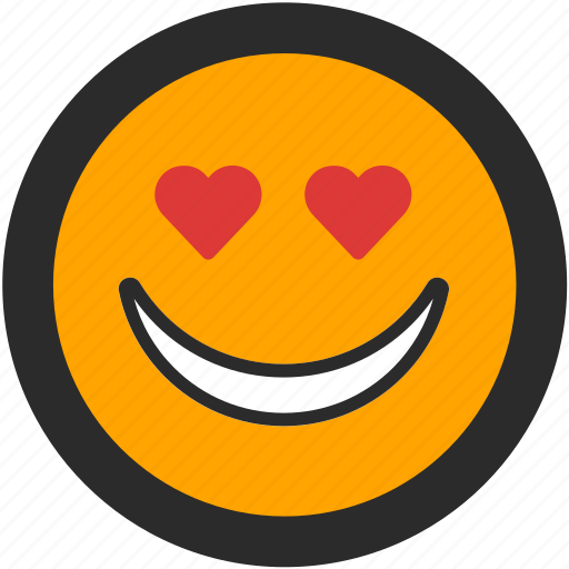emoji, expressions, happy, heart, love, roundettes, smiley icon