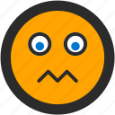 emoji, expressions, roundettes, smiley, worried icon