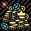 coins, money, rich, treasure, wealthy icon