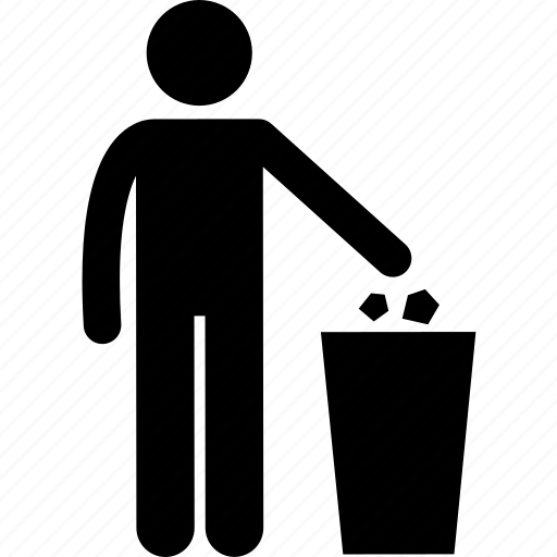 dustbin, garbage, man, people, person, rubbish, throw icon