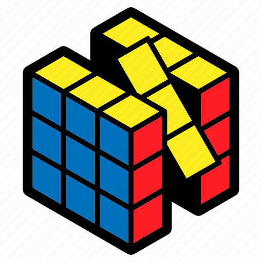 children, game, position, problem solving, puzzle, rubik's cube, toy icon