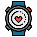 heart, sports, time, watches, wristwatch icon