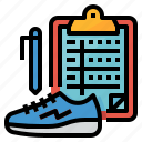exercise, plan, running, table, training icon