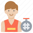 athlete, clock, male, man, running, speed icon