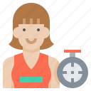 athlete, clock, female, running, speed, woman icon