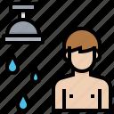 bathroom, man, shower, wash, wet icon