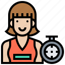 athlete, clock, female, running, speed, woman icon