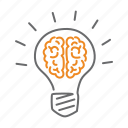 brain, bulb, idea, light, seo, think icon