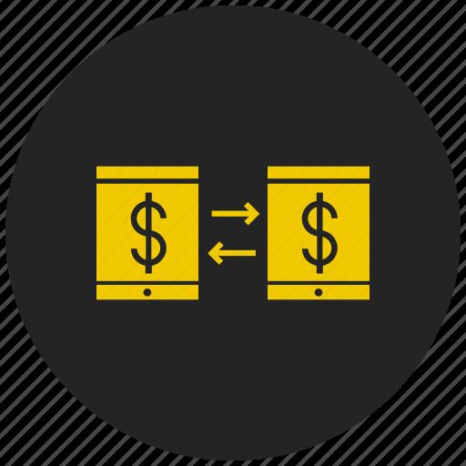 exchange money, mobile banking, mobile transaction, money transfer, online banking, send money, transaction icon