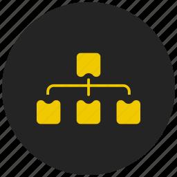 architecture, block diagram, data flow diagram, multiple inheritance, network, schema, structure icon
