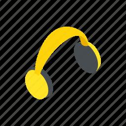 ear, equipment, headphones, isometric, loud, noise, sound icon