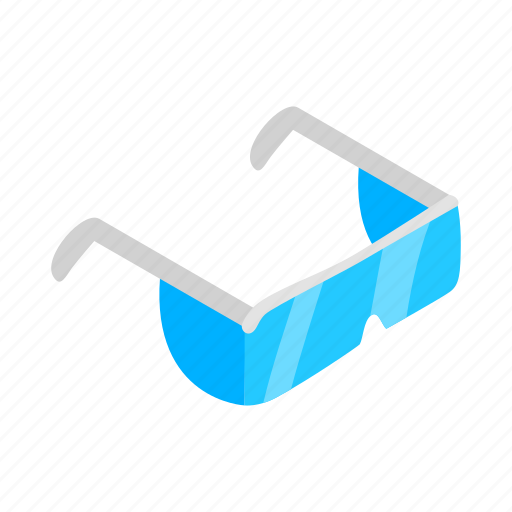 blue, glass, goggle, isometric, plastic, protection, protective icon