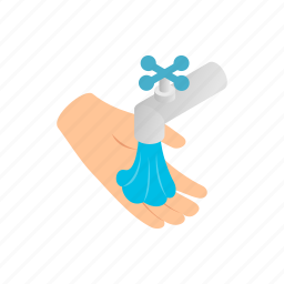 care, faucet, hand, idrop, isometric, tap, water icon