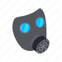 gas, isometric, mask, protection, protective, safety, toxic icon