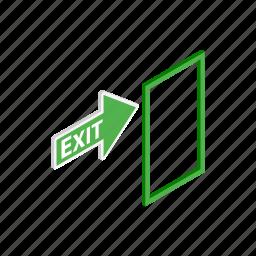 arrow, danger, door, emergency, exit, isometric, warning icon