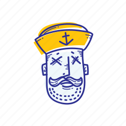captain, emoticon, face, marine, ocean, sad, sailor icon