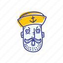captain, emoticon, face, love, marine, ocean, sailor