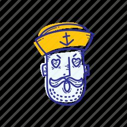 captain, emoticon, face, love, marine, ocean, sailor icon