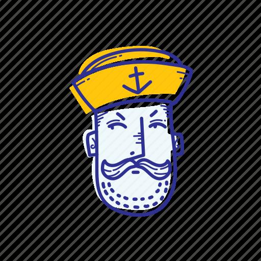captain, emoticon, face, marine, ocean, sailor, see icon